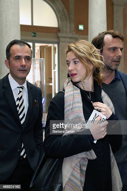 Italian Actor Alessandro Preziosi and fianc Greta Carandini and Martin Bethenod attend the official opening of 'Martial Raysse' exhibition at...