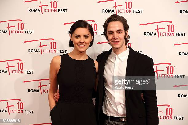"""Italian actor Alessandro Sperduti with English actress Annabel Scholey during red carpet of Anglo-Italian fiction """"I Medici""""."""