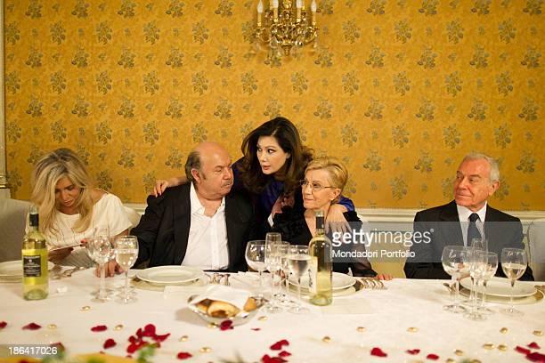 Italian actor and comedian Lino Banfi his wife Lucia Italian TV presenter and actress Mara Venier Italian politician and journalist Gianni Letta...