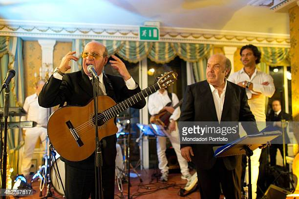Italian actor and comedian Lino Banfi performs music accompanied by a band during his party at the hotel Parco dei Principi where celebrated with his...