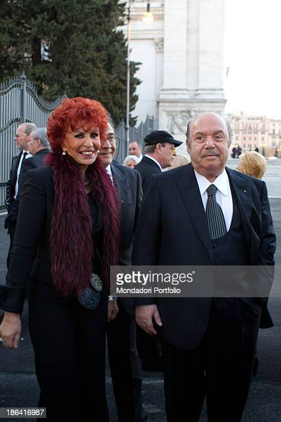 Italian actor and comedian Lino Banfi smiling with Italian writer and singer Maria Scicolone Lino and Lucia Banfi celebrated their 50th wedding...