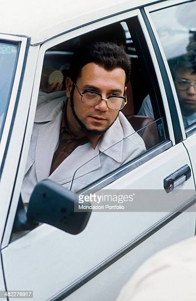 Italian actor and director Carlo Verdone playing the character Furio Zòccano sitting in the car in the film Bianco rosso e Verdone 1981