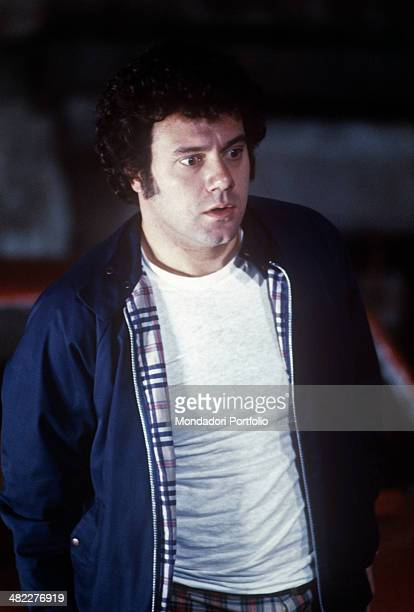 Italian actor and director Carlo Verdone playing the character Pasquale Ametrano sitting in the car in the film Bianco rosso e Verdone 1981