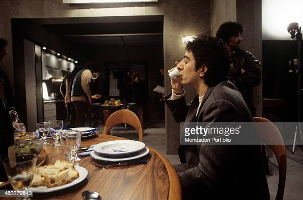 Italian actor and director Sergio Rubini having a coffee in the film Condemned to Wed Italy 1993
