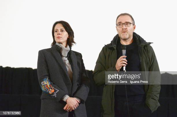 Italian actor and director Valerio Mastandrea and actress Chiara Martegiani presents their movie Ride at Cineteca of Bologna on December 7 2018 in...