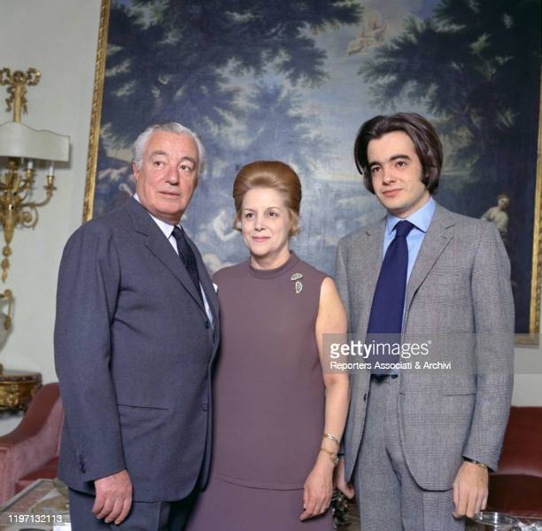 Italian actor and director Vittorio De Sica and his wife and Spanishborn Italian actress Maria Mercader posing with their son Manuel in their living...