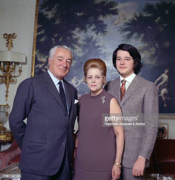 Italian actor and director Vittorio De Sica and his wife and Spanishborn Italian actress Maria Mercader with their son Christian in their living room...