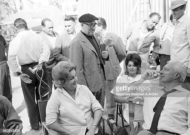 Italian actor and director Vittorio De Sica and his wife Maria Mercader Italian screenwriter Cesare Zavattini and Italian actress Sophia Loren during...