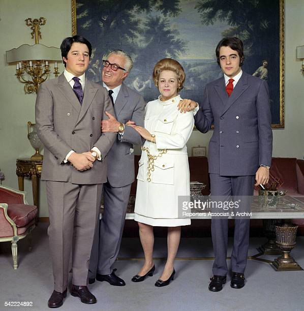 Italian actor and director Vittorio De Sica and his wife Maria Mercader with their sons Manuel and Christian in their house Rome 1st January 1968