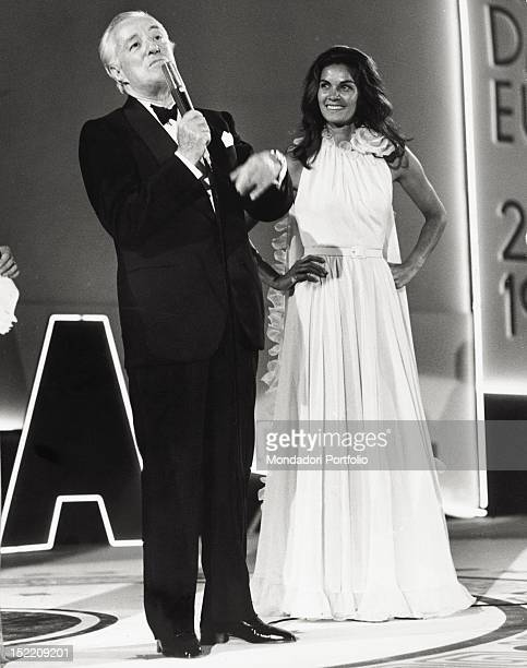 Italian actor and director Vittorio De Sica attending the David di Donatello Awards with the Brazilian actress Florinda Bolkan Taormina 1973