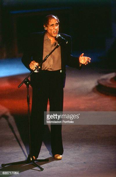 Italian actor and singer Adriano Celentano performing in the TV show Francamente me ne infischio Milan 1999