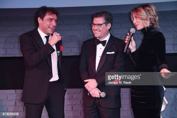 Italian actor and star of 'The Legend of Red Hand' Adriano Giannini is joined by Campari CEO Bob KunzeConcewitz and Mia Ceran at the premiere of the...
