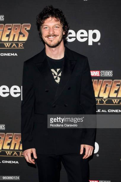 Italian actor Andrea Bosca attends 'Avengers: Infinity War' photocall on April 24, 2018 in Milan, Italy.