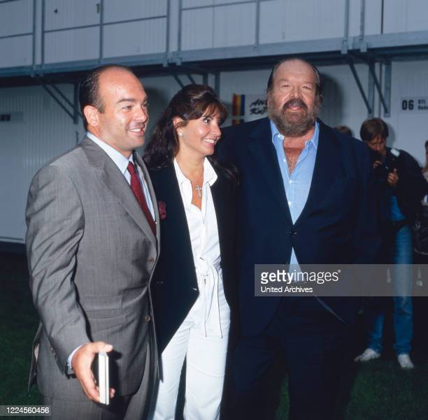 Italian actor Bud Spencer and his son Giuseppe with his wife Germany circa 1985