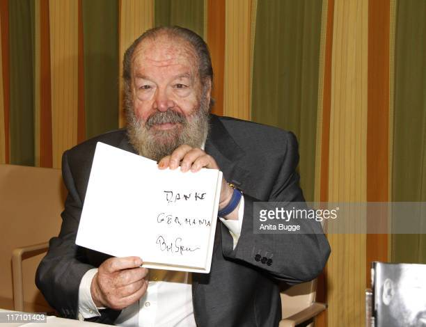 Italian actor Bud Spencer attends a press conference to present a special edition of his autobiography 'Bud Spencer Mein Leben meine Filme' to...