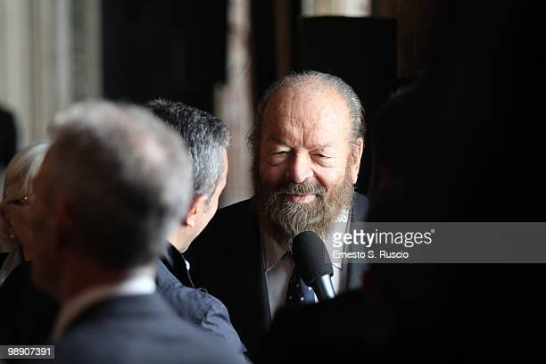 Italian Actor Bud Spencer attends the David di Donatello nominations at Quirinale on May 7 2010 in Rome Italy