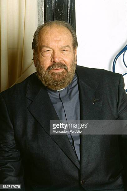 Italian actor Bud Spencer dressed as a priest on the set of the Tv movie Father Hope. 2001