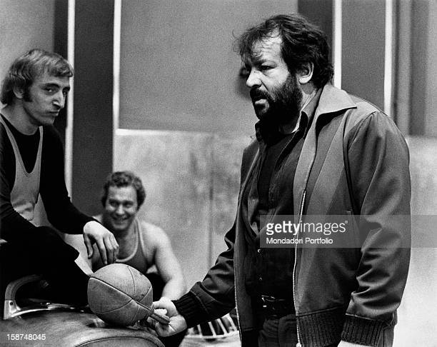 Italian actor Bud Spencer talking to some extras on the set of the film Watch Out, We're Mad. Rome, 1974