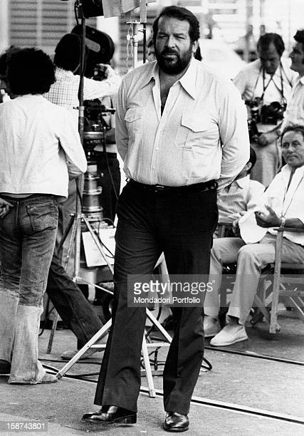 Italian actor Bud Spencer walking on the set of the film The Knock Out Cop. Naples, 1973