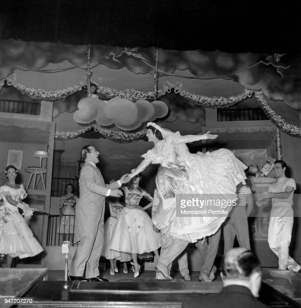 Italian actor Carlo Dapporto performing in the musical Giove in doppiopetto staged at Teatro lirico of Milan Milan October 1954