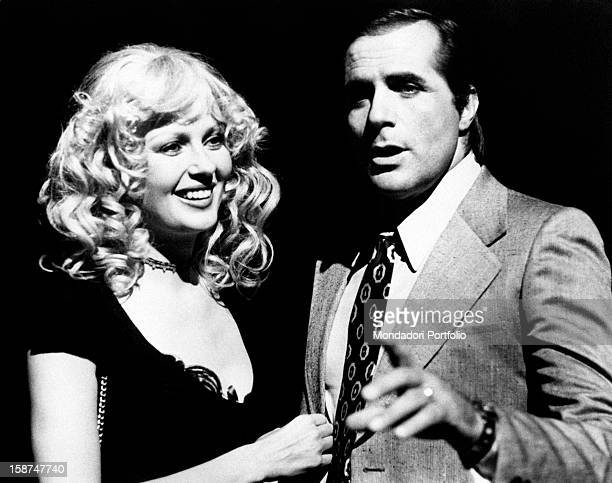 Italian actor Carlo Giuffré and American actress and model Pamela Tiffin joking on the set of the movie La signora é stata violentata Rome 1970s...