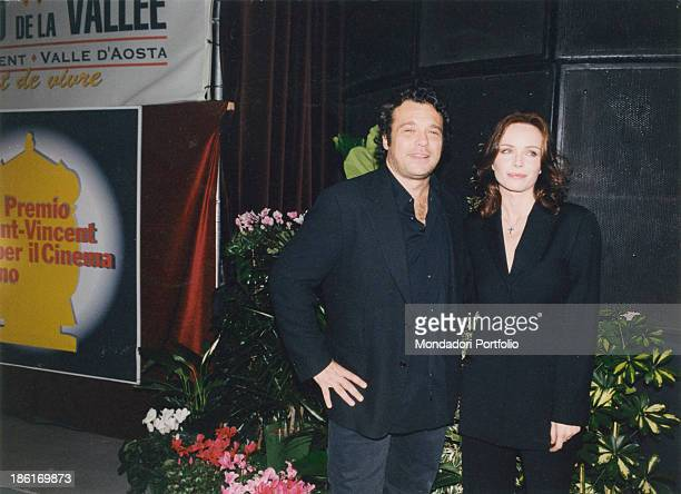 Italian actor Claudio Amendola and Italian actress Francesca Neri posing smiling at the SaintVincent Prize for Italian cinema SaintVincent 25th...