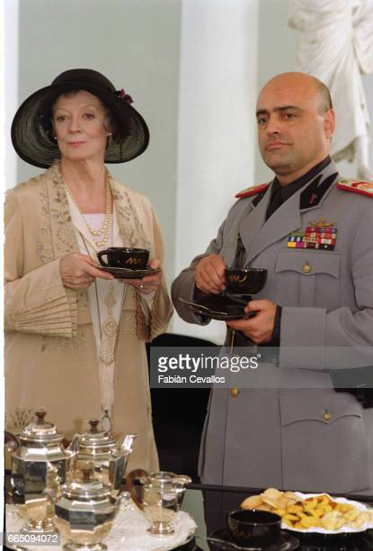 Italian actor Claudio Spadaro and British actress Maggie Smith play in Italian director Franco Zeffirelli's film Tea With Mussolini