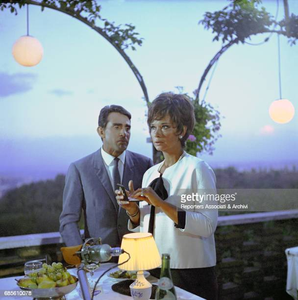 Italian actor, comedian and TV host Walter Chiari and Italian actress Lea Massari having dinner in a scene of the anthology movie directed by Nanni...