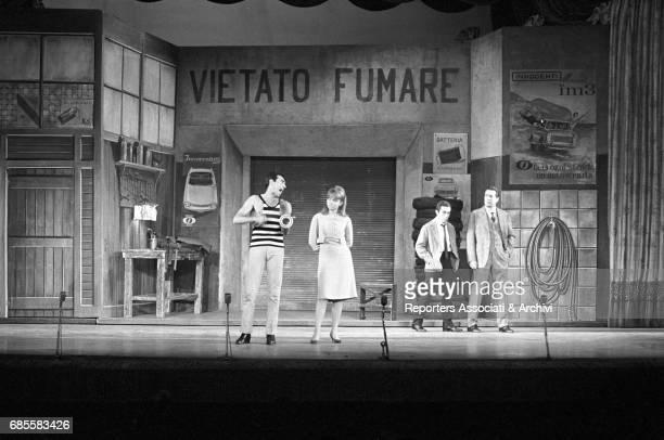Italian actor comedian and TV host Walter Chiari in the revue Buona notte Bettina with Italian actress Alida Chelli Italian actor Vittorio Congia and...
