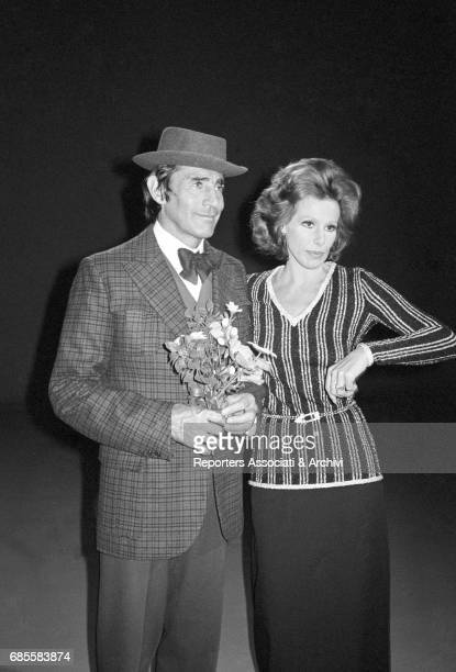 Italian actor comedian and TV host Walter Chiari performing a sketch with the singer Ornella Vanoni in the TV show 'Canzonissima' Italy 1972
