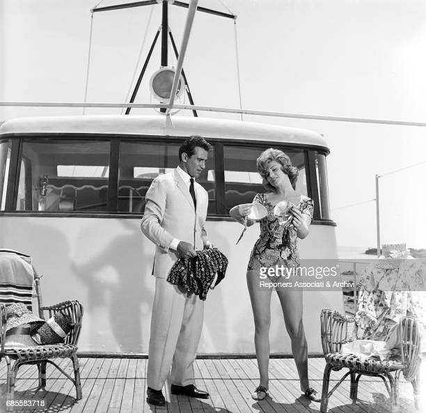 Italian actor comedian and TV host Walter Chiari with the actress Sylva Koscina in a scene from the film 'Love the Italian Way' directed by Giorgio...