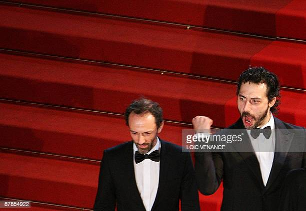Italian actor Corrado Invernizzi and Italian actor Filippo Timi arrive for the screening of Vincere directed by Marco Bellocchio in competition at...