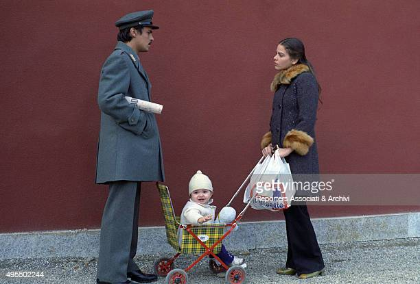 Italian actor director and scriptwriter Michele Placido and Italian actress Ornella Muti meeting in the street in the film Come Home and Meet My Wife...