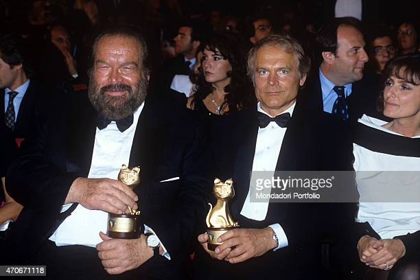 'Italian actor director scriptwriter and TV producer Terence Hill and Italian actor scriptwriter and film producer Bud Spencer showing the Telegatto...
