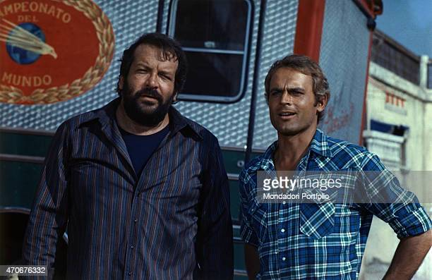 Italian actor director scriptwriter and TV producer Terence Hill and Italian actor scriptwriter and film producer Bud Spencer acting in the film...
