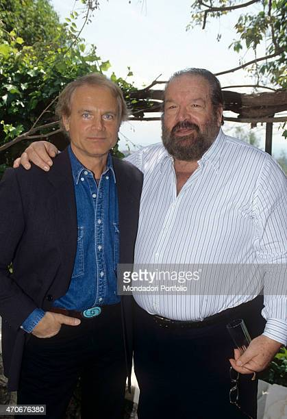 'Italian actor director scriptwriter and TV producer Terence Hill posing with Italian actor scriptwriter and film producer Bud Spencer during the...
