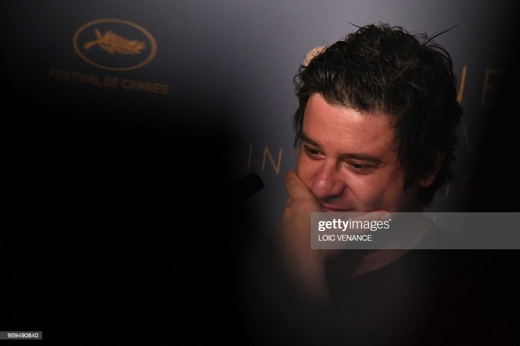 Italian actor Edoardo Pesce attends on May 17, 2018 a press conference for the film 'Dogman' at the 71st edition of the Cannes Film Festival in Cannes, southern France.