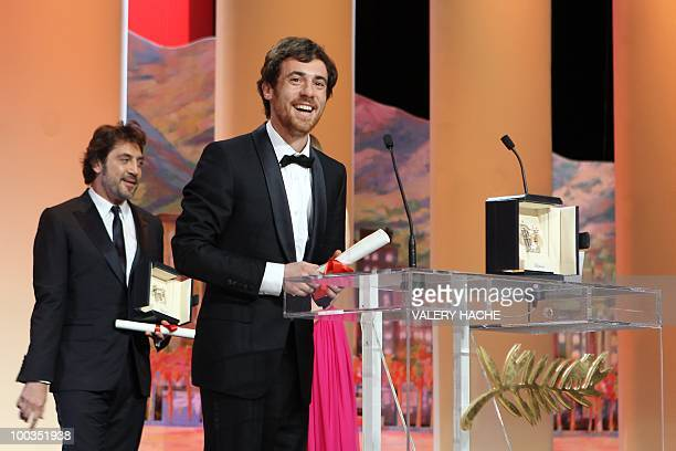 Italian actor Elio Germano poses after winning the Best Actor award for his role in 'La Nostra Vita' during the closing ceremony at the 63rd Cannes...