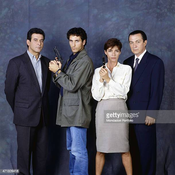 Italian actor Ennio Fantastichini Italian actor and swimmer Raoul Bova Italian actor Remo Girone and French actress Patricia Millardet posing on the...