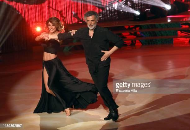 Italian actor Enrico Lo Verso and his dance partner Samanta Togni perform on the tv show Ballando Con Le Stelle at RAI Auditorium on March 30 2019 in...