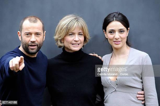 """Italian actor Fabio Volo, Italian actress Ambra Angiolini and Italian director Cristina Comencini at the photo call of """"Bianco e Nero"""" in Rome."""