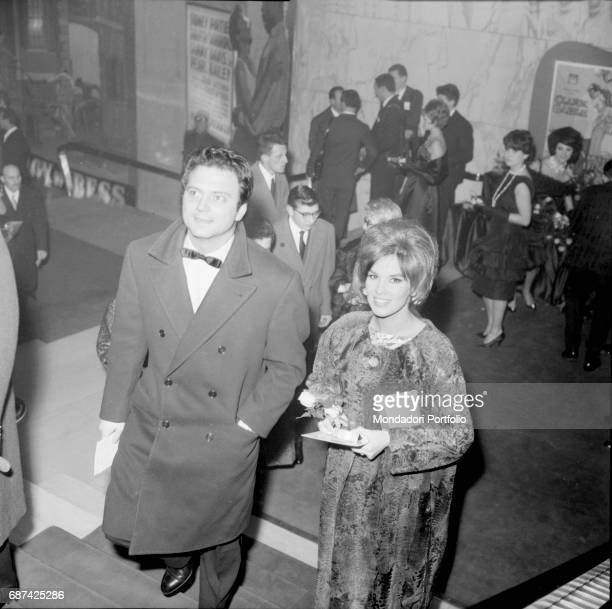 Italian actor Franco Interlenghi and his wife Italian actress Antonella Lualdi at Silver Ribbons award ceremony Milan 1961