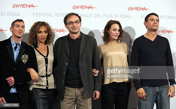 Italian actor Fulvio Forti actress Valeria Golino director Valerio Jalongo actress Antonella Ponziani and actor Vincenzo Amato pose during the...