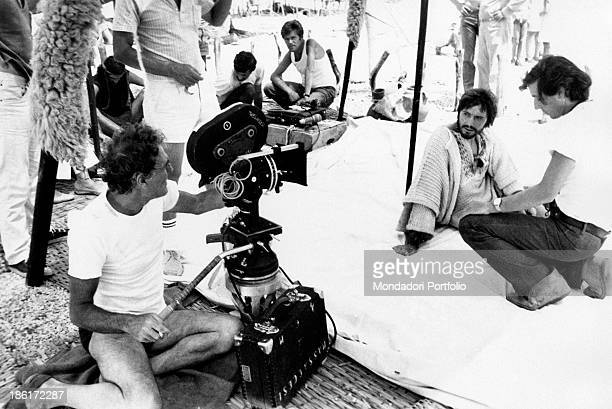 Italian actor Giulio Brogi is shot with some cameramen and Italian director Franco Rossi during the making of the TV miniseries Eneide Isle of Pap...