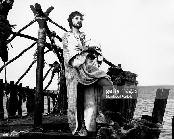 Italian actor Giulio Brogi rakes the sea in a scene from the TV miniseries Eneide in which he plays the role of Aeneas Isle of Pap 1970