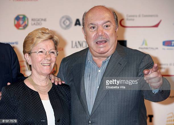 Italian actor Lino Banfi and his wife attend the Roma Fiction Fest 2008 Closing Ceremony and Diamond Awards on July 12, 2008 in Rome, Italy.