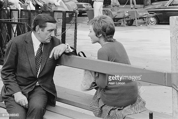 Italian actor Lino Ventura and French actress Marlene Jobert on the set of Dernier Domicile Connu, written and directed by French director Jose...