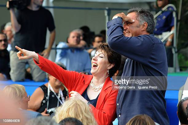 Italian actor Luca Barbareschi supporter of Gianfranco Fini and member of Parliament Adriana Poli Bortone during the Festa Tricolore on September 5...