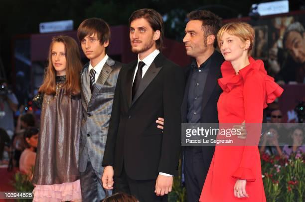 Italian actor Luca Marinelli, Film director Saverio Costanzo, and actress Alba Rohrwacher attend the 'La Solitudine Dei Numeri Primi' Premiere during...