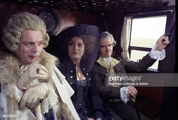 Italian actor Marcello Mastroianni acting Giacomo Casanova and German actress Hanna Schygulla sitting in a coach in the film That Night in Varennes...